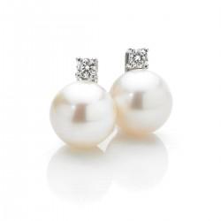 boucles d'oreilles pour femmes avec perles et diamants
