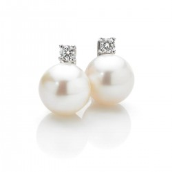 Damenohrringe mit Perlen und Diamanten
