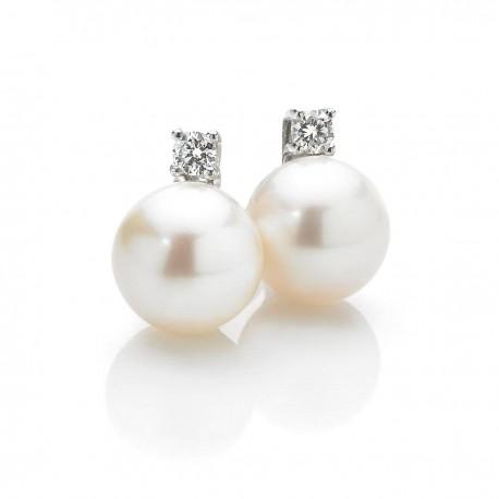 orecchini donna con perle e diamanti