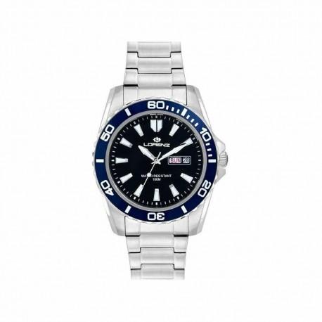 LORENZ SPORT Men's Watch 26116EE Black Blue Steel Bracelet