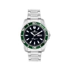 LORENZ SPORT Men's Watch 26116FF Black Green Steel Bracelet
