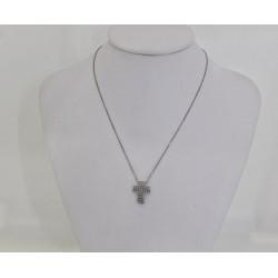 Колье из белого золота 18 kt с крестом из белого золота и бриллиантов