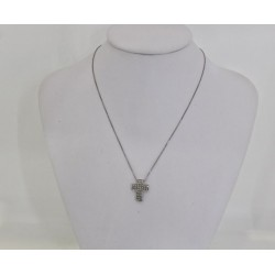 Necklace in white gold 18 kt with cross in white gold and diamonds