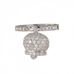 Anello con campanella sonaglino in argento 925 e zirconi argento