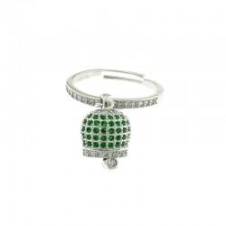Anello con campanella sonaglino in argento 925 e zirconi verdi