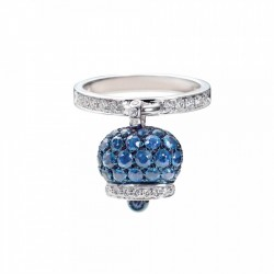 Ring bell rattle in silver 925 and zircons-blue