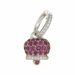 Pendant with bell rattle in silver 925 and zircons fuchsia