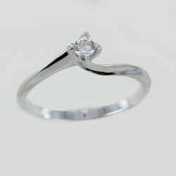 Small solitaire ring with Valentine setting diamond 0.16 carat 00218