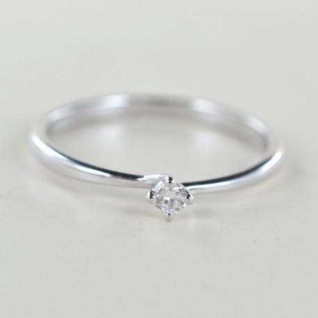 Kleiner Solitärring mit Diamant in Valentine-Fassung von 0,06 Karat