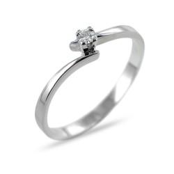 Anello Solitario piccolo in oro con diamante 0.04 G gambo sfalsato 00223