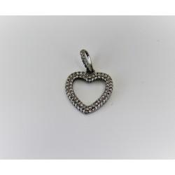 Шарм сердце из серебра 925 пробы и кубического циркония