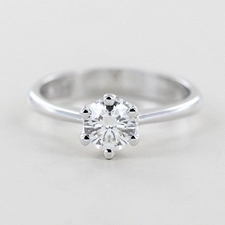 Large 6-claw solitaire ring with 0.56 carat half carat diamond 00238