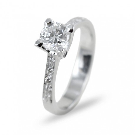 Solitaire ring with diamond 0.65 and diamonds on the stem 00238
