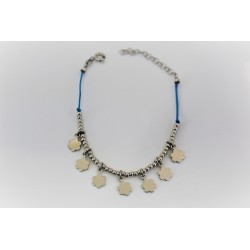 Armband für mädchen mit blumen-anhänger in 925 silber und kautschuk, blau