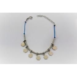 Bracciale per bambina con fiori pendenti in argento 925 e caucciù azzurro