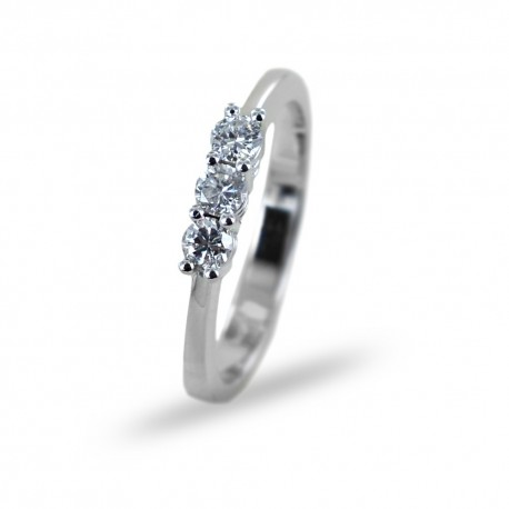 Medium Trilogy ring with diamonds in 0.45 carat gold 00249