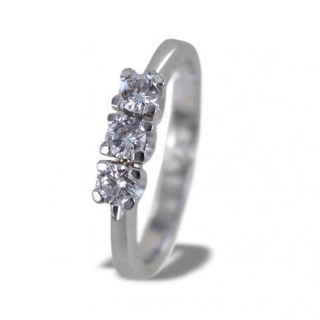 Trilogy ring in gold and diamonds ct 0.35 color G 00249