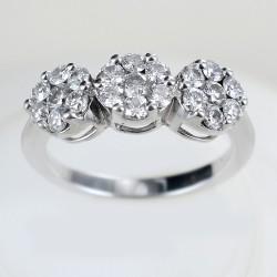 Bague effet trilogie avec diamants de plus d'un demi-carat Magic ct 0.75 00251