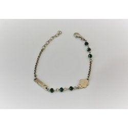 Bracelet for child, in silver 925 with green beads frog