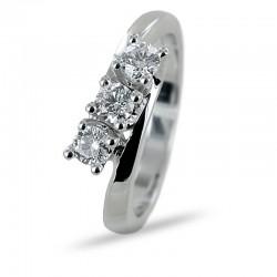 Oblique diagonal trilogy ring with half carat diamonds Gioielli Valenza 00259