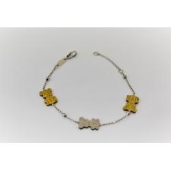 Armband für kind, in silber 925 verstellbar, farbe gold und silber.