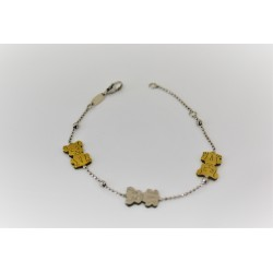 Bracciale per bambino in argento 925 regolabile, color oro e argento.