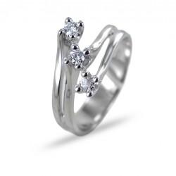 Bague Diagonal Trilogy avec diamants ct 0,17 G VS Gioielli Valenza 00260