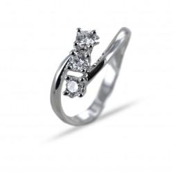 Diagonal Trilogy ring with diamonds ct 0.39 F VS Gioielli Valenza 00261