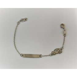 Bracelet for child, in silver 925 with customizable label with name