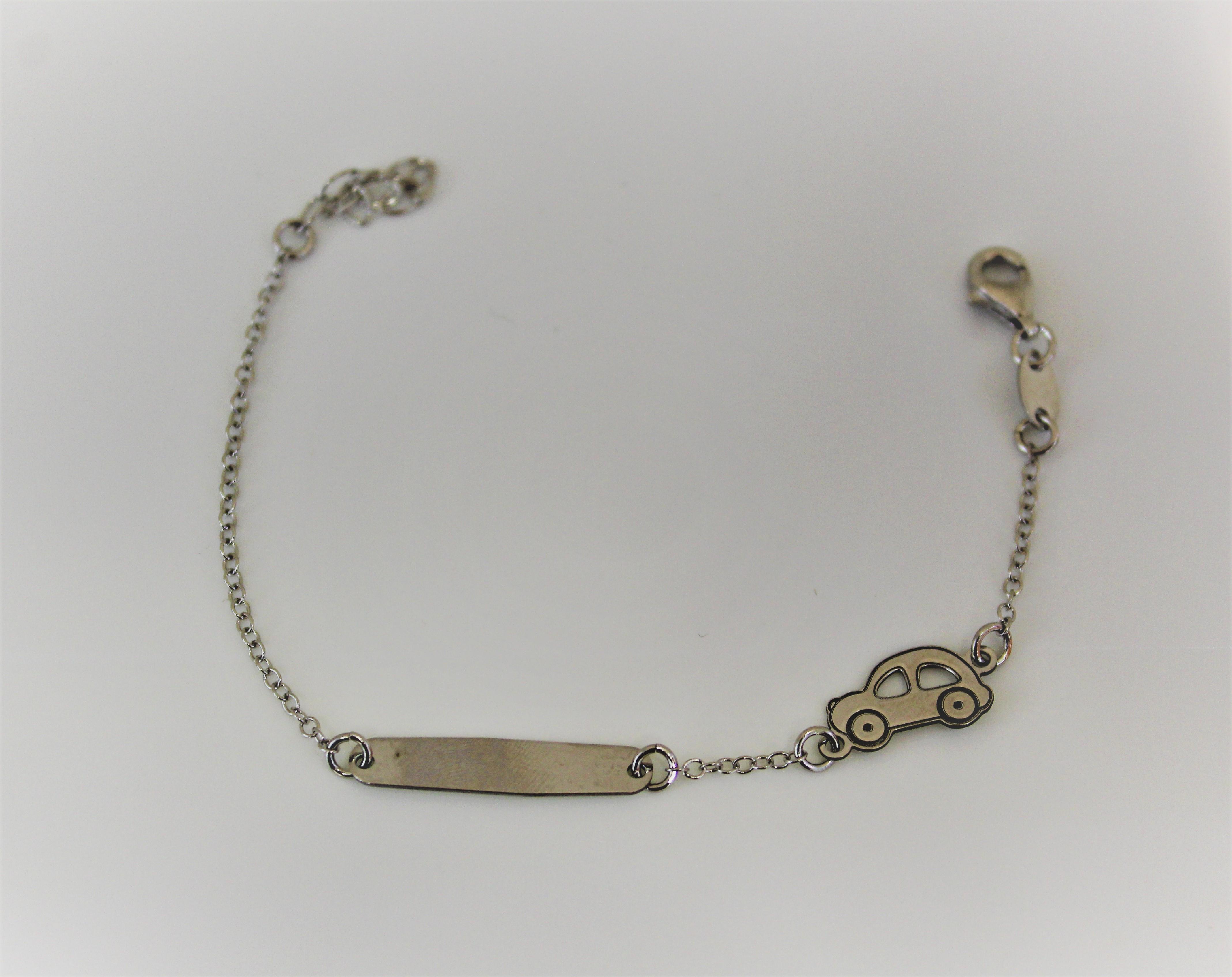 en ligne ici complet dans les spécifications meilleures baskets Bracelet pour enfant en argent 925 avec étiquette personnalisable avec le  nom de