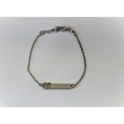 Bracelet pour fille, en argent 925 et zircon cubique étiquette personnalisable