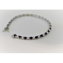 Tennis bracelet unisex, 925 silver and cubic zirconia white and blue