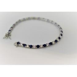 Tennis bracelet unisexe, argent 925 et zircon cubique blanc et bleu