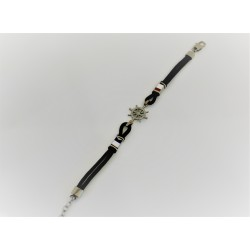 Bracelet black rubber and rudder 925 silver