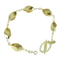 Bracciale da donna con maglie lucide in oro giallo BR1000G