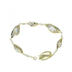 Bracciale da donna a catena con maglie lucide in oro giallo e bianco BR1001BC