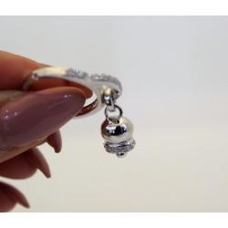 Anello con campanella sonaglino in argento 925 e zirconi regolabile