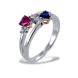 Ring IO E TE with Sapphire Heart and Ruby Heart with Diamonds 00266