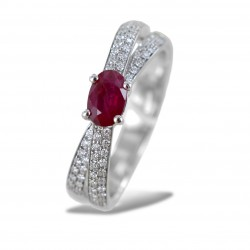 Ring with Burma Ruby 0.61 ct and double band of diamonds on the stem 00272