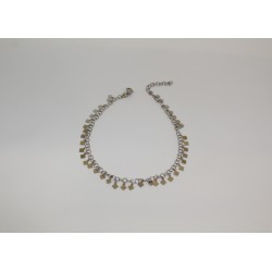 Anklet with diamond pendants in silver 925
