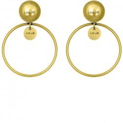 Liu Jo hoop earrings in golden steel LJ1228