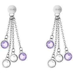 Liu Jo pendant earrings with lilac crystals LJ1167