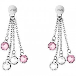 Liu Jo drop earrings with pink and white crystals LJ1164