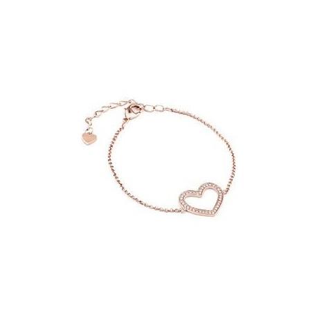 Bracelet femme Liu Jo en acier coeur avec zircons LJ1014