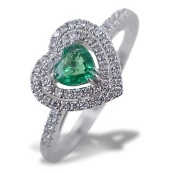Anello con Cuore Smeraldo con doppio contorno di Diamanti 00275
