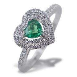 Ring mit Smaragdherz mit doppeltem Umriss der Diamanten 00275