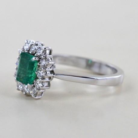 Bague rosace émeraude et diamant 00278