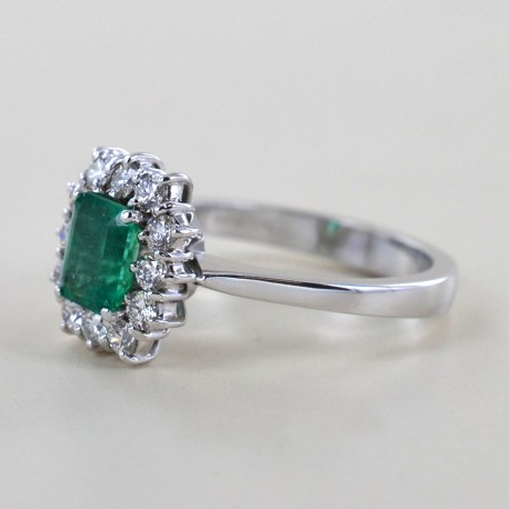 Emerald and diamond rosette ring 00278