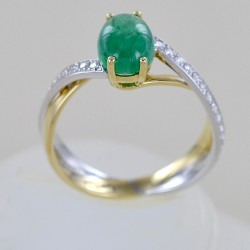 One and a half carat cabochon emerald ring with diamonds 00278