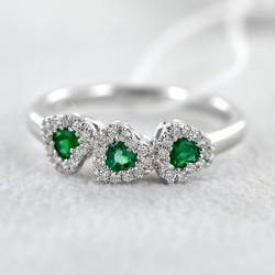 Fancy Ring Hearts with Emeralds and Diamonds 00284